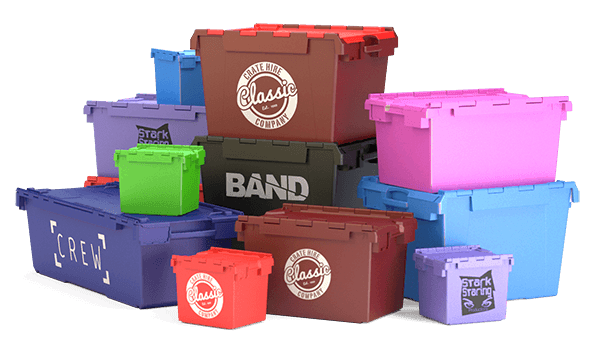 A selection of plastic moving crates, storage crates and relocation crates in various colours with your company brand logos