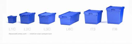 Crate size comparison lineup L1C, L2C, L3C, L6C, IT3, IT6 Blue