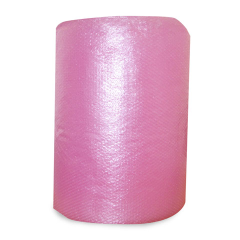 Anti-static bubble-wrap roll, pink in colour